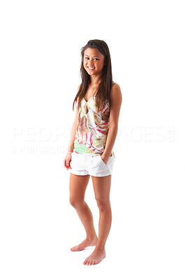 Buy stock photo Exotic girl smiling in front of the camera. Relaxed in colorful clothes. Isolated on white background. Unique keyword: Diana123