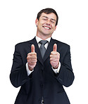 Happy mature business man showing a success sign on white