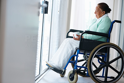 Elderly woman sitting with coffee in wheel chair
