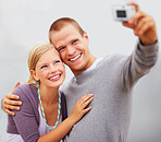 Charming young couple self photography