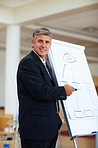 Happy mature business man with a white chart board