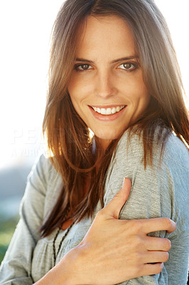 Buy stock photo Portrait of smart young woman looking happy