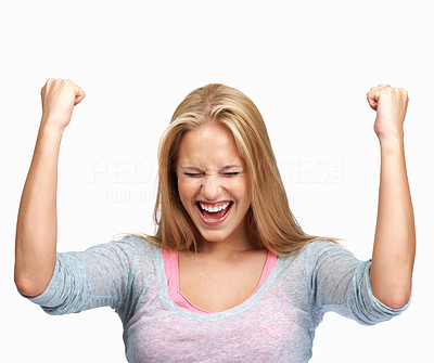 Young woman cheering success