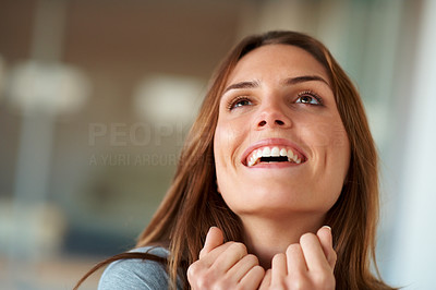 Buy stock photo Closeup of excited young lady looking at copyspace