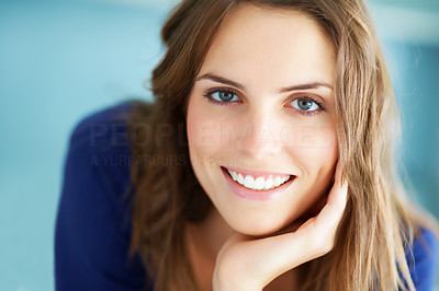 Buy stock photo Closeup of charming young lady looking happy