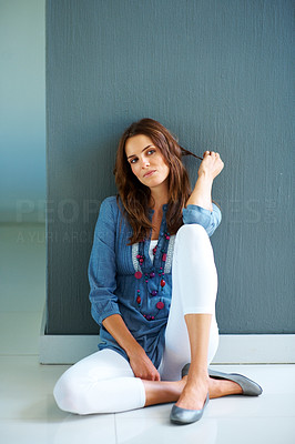 Buy stock photo Pretty young woman looking away in thought