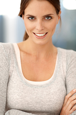 Buy stock photo Portrait of beautiful young lady smiling