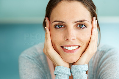Buy stock photo Closeup of smiling face of young lady