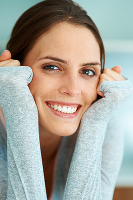 Buy stock photo Beautiful smiling young lady with hands on face