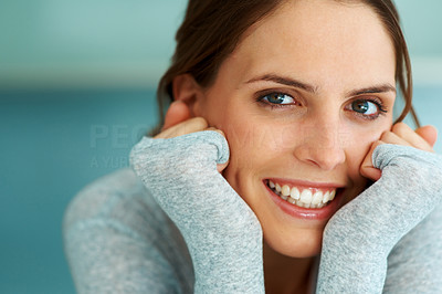 Buy stock photo Closeup of pretty cheerful young woman