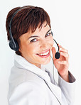 Customer care executive smiling during communication