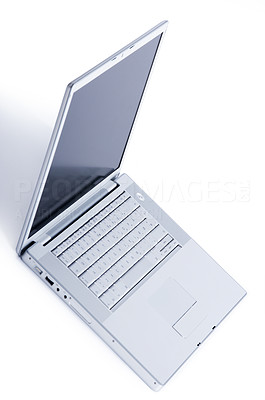 Buy stock photo Studio shot of an open laptop isolated on white