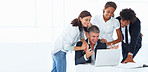 Team of cheerful business colleagues working together on a laptop