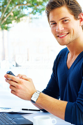 Buy stock photo Casual Young Man on the Phone