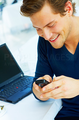 Buy stock photo Young Man on the Phone
