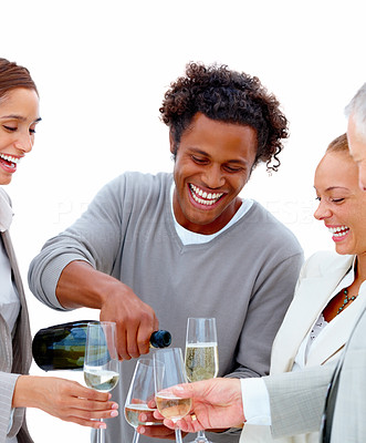 Business team celebrating their success isolated