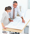 Architect showing plan to client