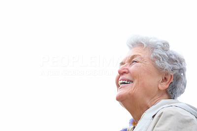 Closeup of a happy senior woman isolated on white background
