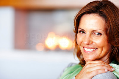 Buy stock photo Portrait of happy young female smiling