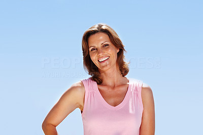 Buy stock photo Beautiful young woman posing- Outdoor