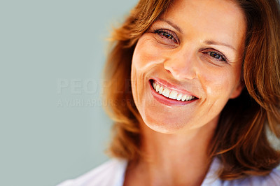 Buy stock photo Portrait of happy young woman smiling - Copyspace