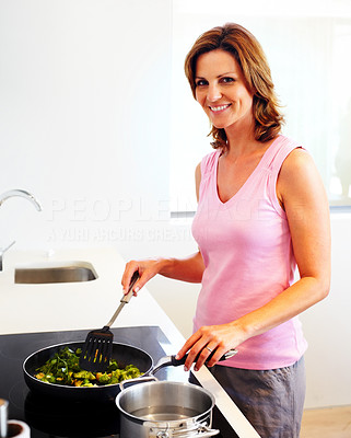 Buy stock photo Kitchen - Beautiful young woman cooking vegetable