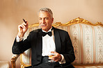 Handsome man with cigar and brandy
