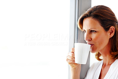 Buy stock photo Portrait of cute young lady drinking coffee