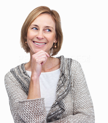 Buy stock photo Middle aged woman thinking and smiling over white