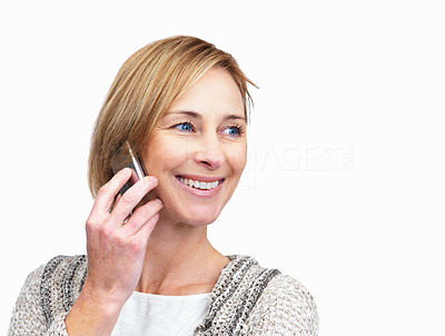 Buy stock photo Happy mature lady talking on mobile phone
