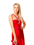 Pretty young lady wearing an red evening gown