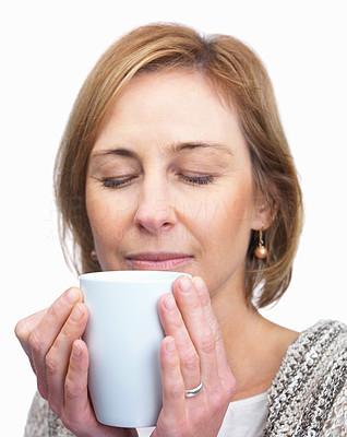 Buy stock photo Mature woman smelling coffee isolated over white b