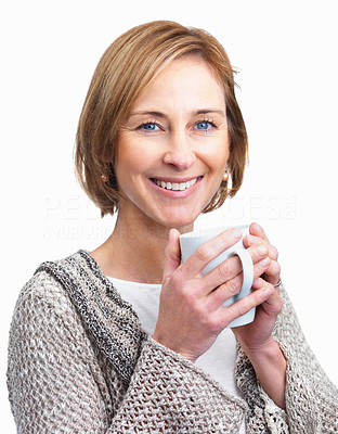 Buy stock photo Pretty  lady enjoying a cup of coffee isolated ove