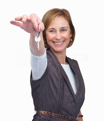 Buy stock photo Cheerful mature woman with key in hand over white