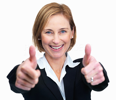 Buy stock photo Pretty smiling business woman showing thumbs up si