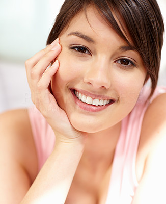 Buy stock photo Portrait of a cute young teenage female smiling
