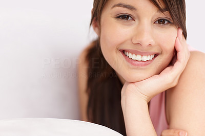 Buy stock photo Portrait of a pretty teenaged girl smiling