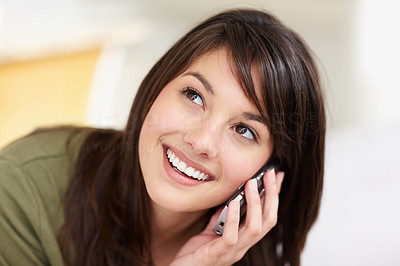 Buy stock photo Pretty young female having a conversation over the