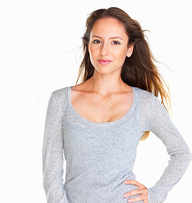 Buy stock photo Woman with one hand on hip against white background