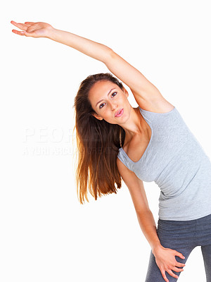 Buy stock photo Woman stretching out her midsection