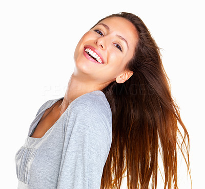 Buy stock photo Head shot of woman tilting her head