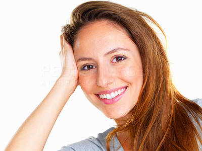 Buy stock photo Head shot of happy woman casually leaning on hand