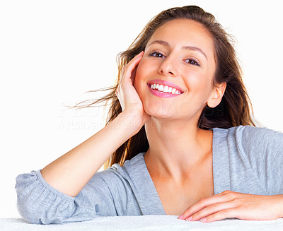Buy stock photo Happy woman casually leaning on hand