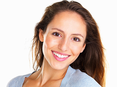 Buy stock photo Happy woman looking directly into camera