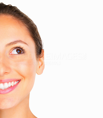 Buy stock photo Cropped image of woman looking up against white background