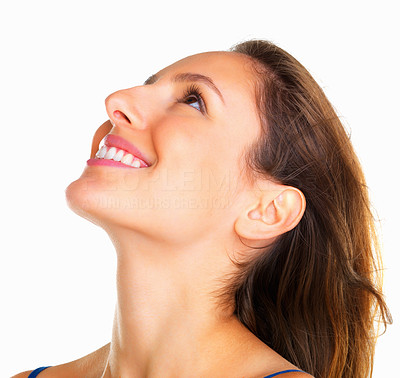 Buy stock photo Head shot of happy woman looking up