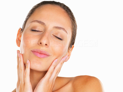 Buy stock photo Head shot of woman holding her face with eyes closed