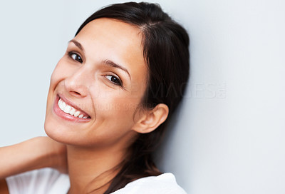 Buy stock photo Pretty woman smiling and engaging