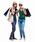 Full length of happy young friends standing with shopping bags
