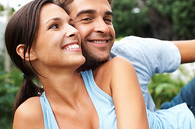 Buy stock photo Playful couple sharing a moment outdoors